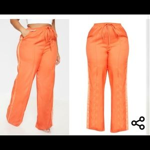 Plus Orange Drawstring Waist Satin Stripe Pants.